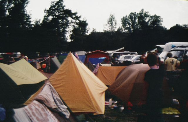 Crowded Conditions for Fest - Joanna is Looking at Our Tent on the Right