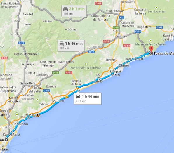 Barcelona to Tossa de Mar