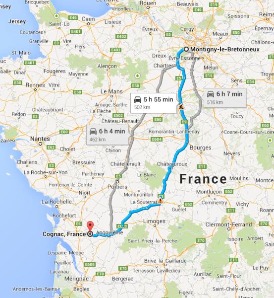 Montigny to Cognac