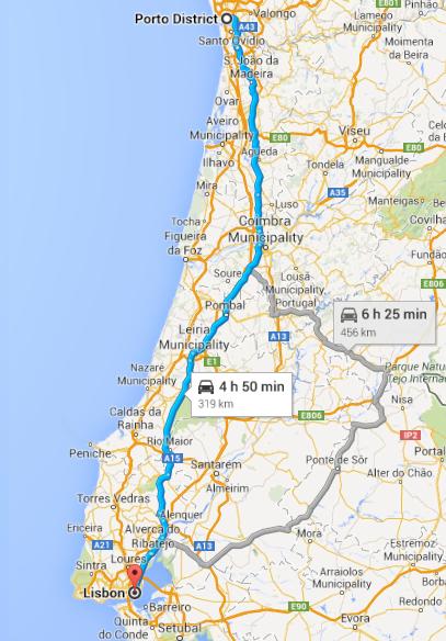 Porto to Lisbon