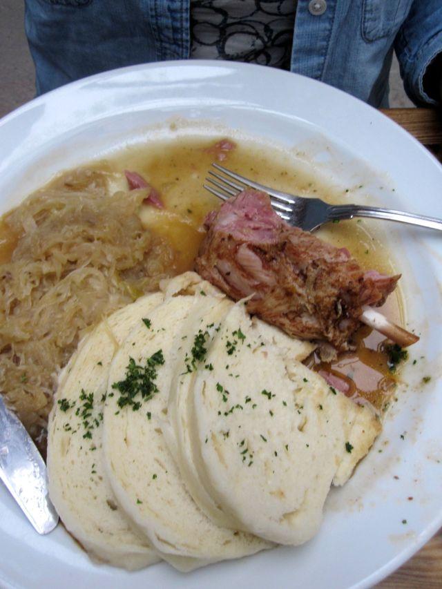 Pig Knuckle, Knodel, and Warm Sauerkraut