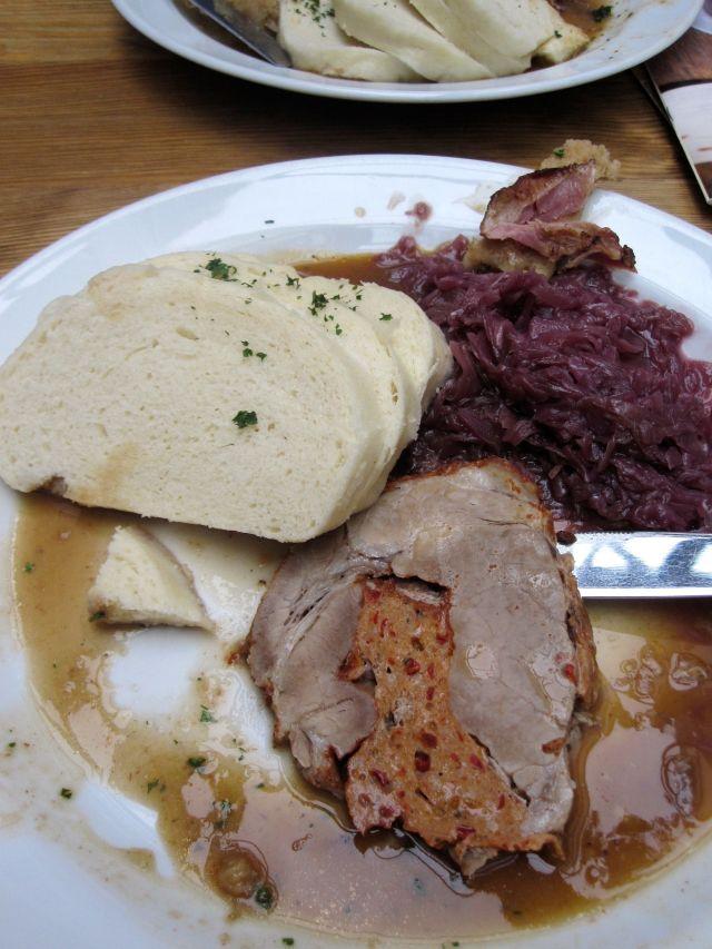 Stuffed Pork Roast, Knodel, and Purple Kraut