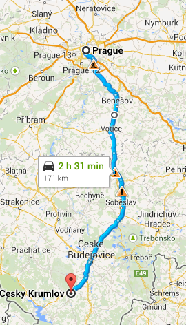 Prague to Cesky Krumlov