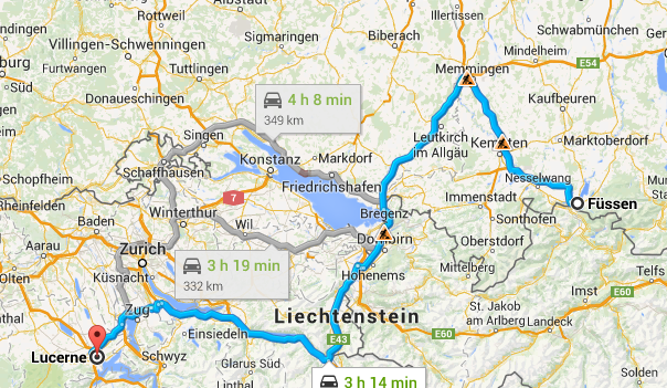 Fussen to Lucerne