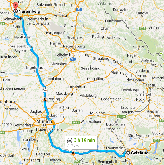 Salzburg to Nuremberg