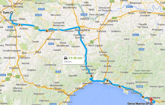 Turin to Deiva Marina