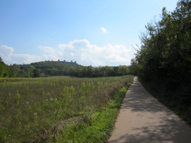 Bike Path on the Ride, Monteriggioni in the Background