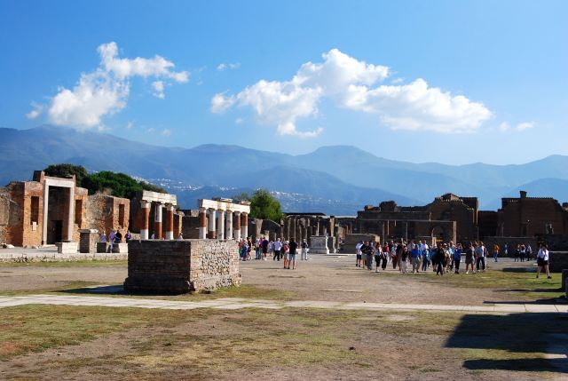 Pompei's Forum with Mountains in Background