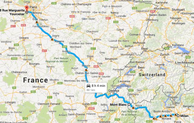 Milan to Montigny