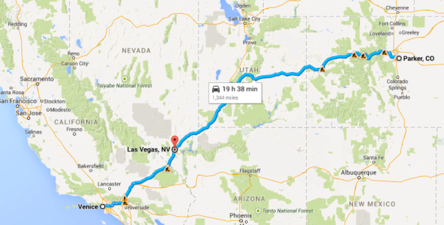 Parker to Las Vegas to Mar Vista