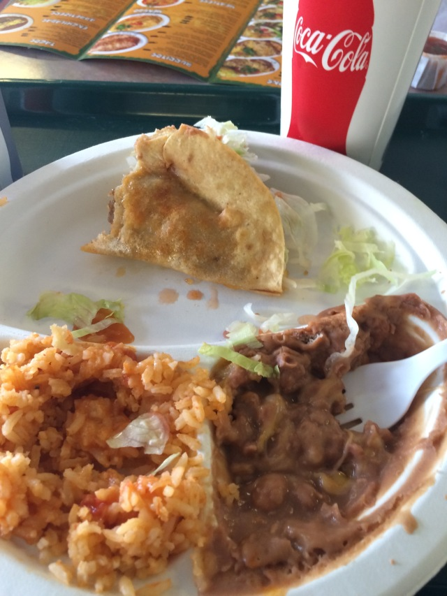 Partially demolished Taco, Rice, and Beans
