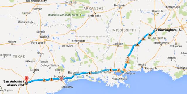 Birmingham to San Antonio