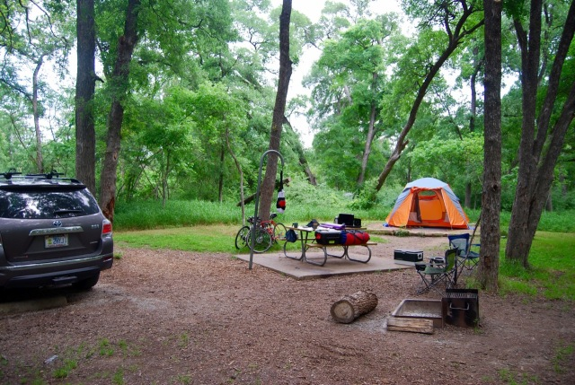 Our campsite at McKinney Falls State Park in Austin later in the trip