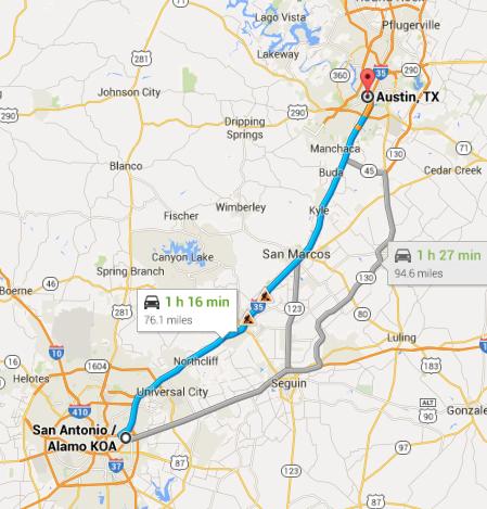 San Antonio to Austin