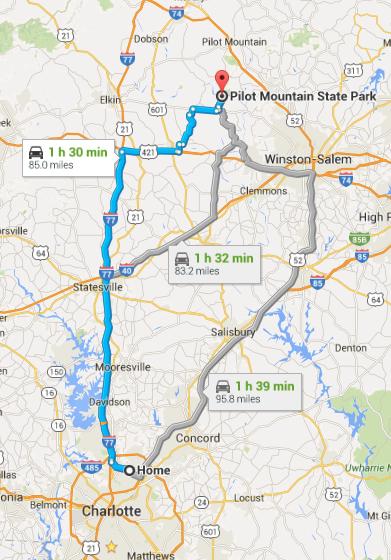 Multiple Routes to Pilot Mountain