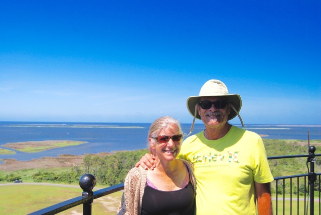 At the top of Bodie Island Lighthouse
