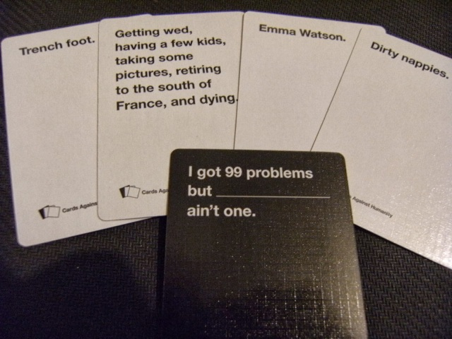 A Sample Hand of Cards Against Humanity
