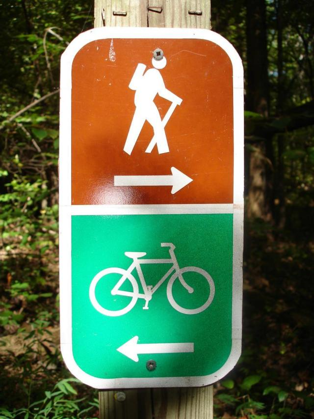 Hikers go in one direction, bikers in the other