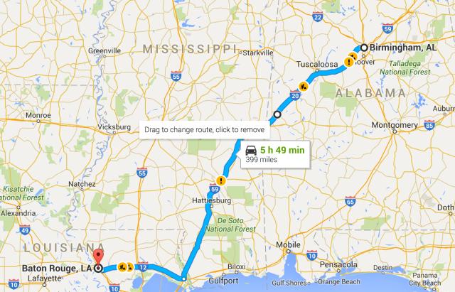 Birmingham to Baton Rouge