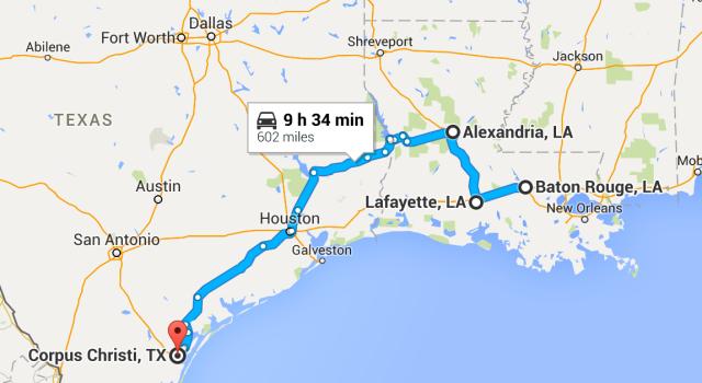 Baton Rouge to Corpus