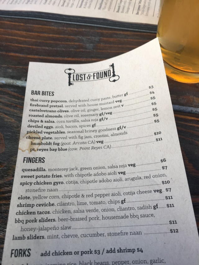 Lost and Found Menu
