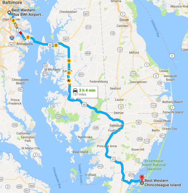 Baltimore to Chincoteague Island