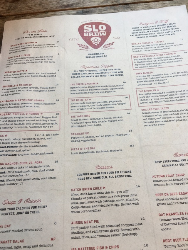 SLO Brew Menu