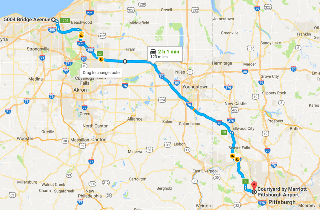 Cleveland to Pittsburgh