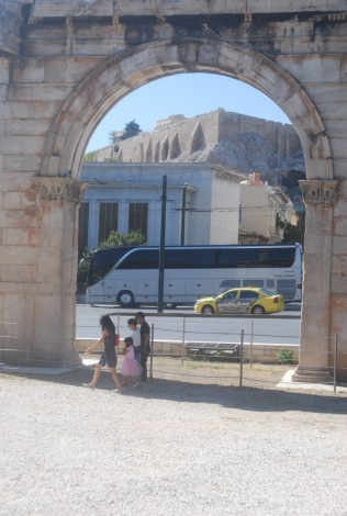 Arch of Hadrian with the Acropolis (and a bus)