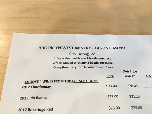Brooklyn West Tasting List