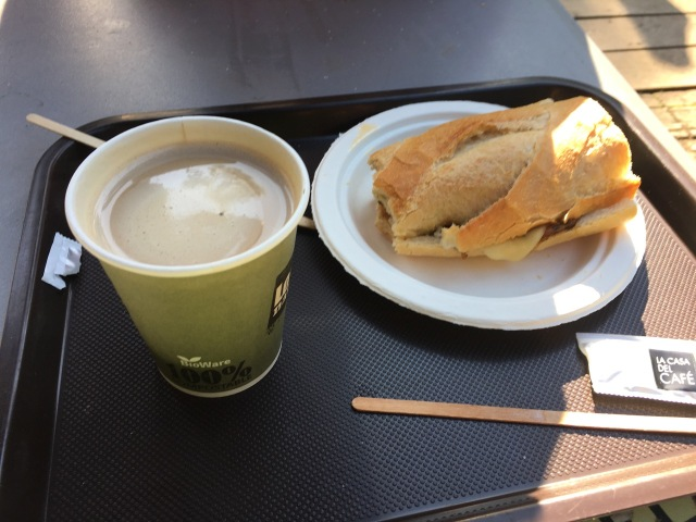 Lomo Bocadillo (sandwich) and Cafe Con Leche