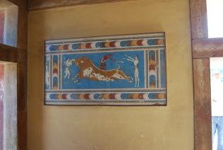 Restored Fresco of the Bull Leaping Game