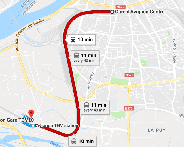 Avignon Center to TGV
