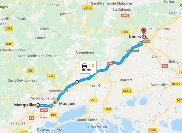 Montpellier to Nimes