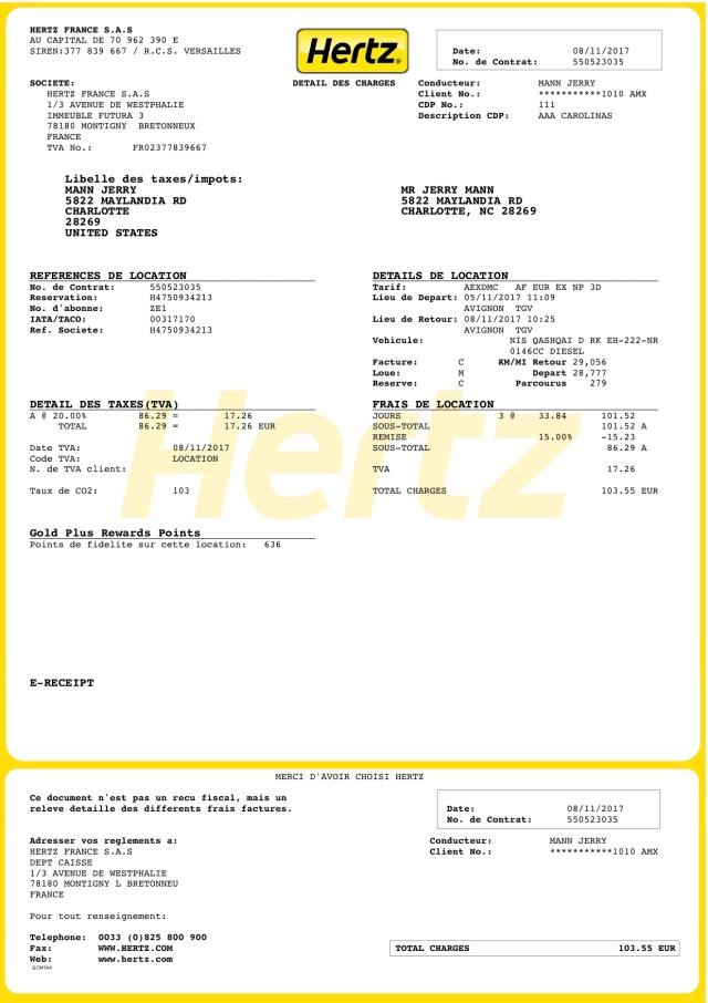 Hertz - Reçu électronique 550523035
