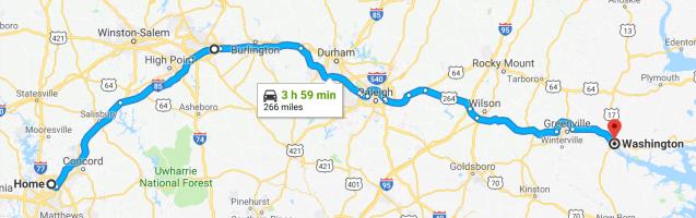 Home to Washington NC