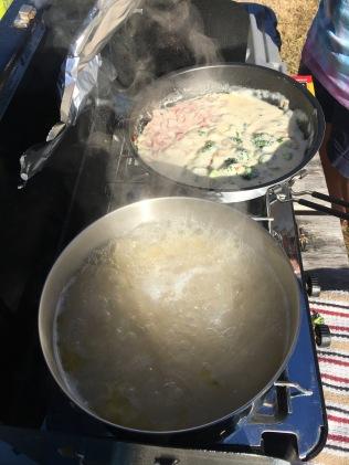 Carbonara with Ham and Broccoli