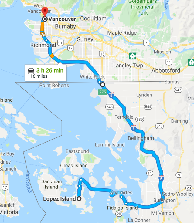 Lopez Island to Vancouver