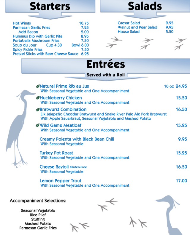Lake House Menu