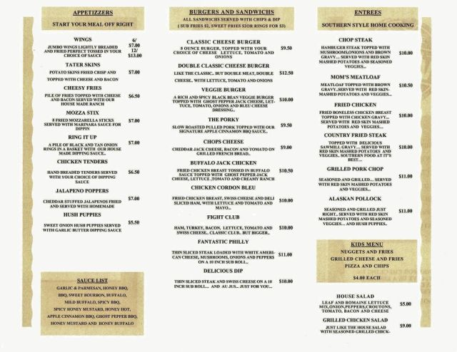 13 Monks Menu