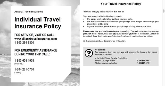 Allianz Travel Policy