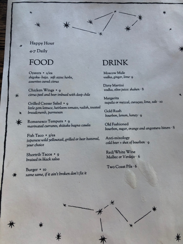 Corner Bar Happy Hour Menu
