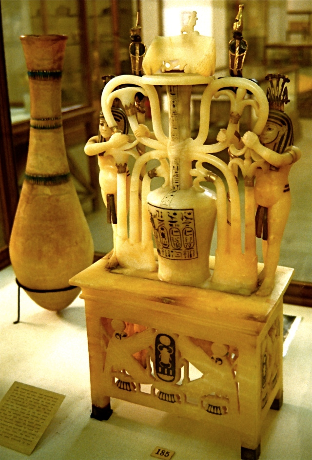 A calcite alabaster perfume jar from the tomb of Tutankhamun, d. 1323 BC