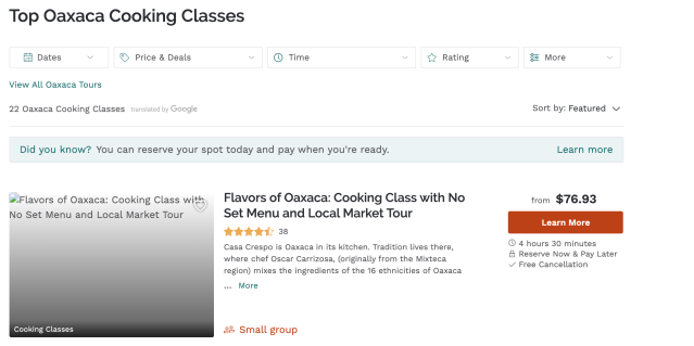 Top Cooking Classes
