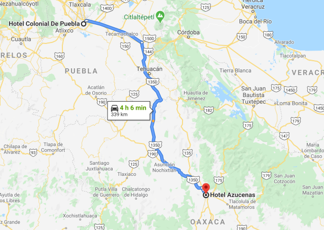 Oaxaca to Puebla
