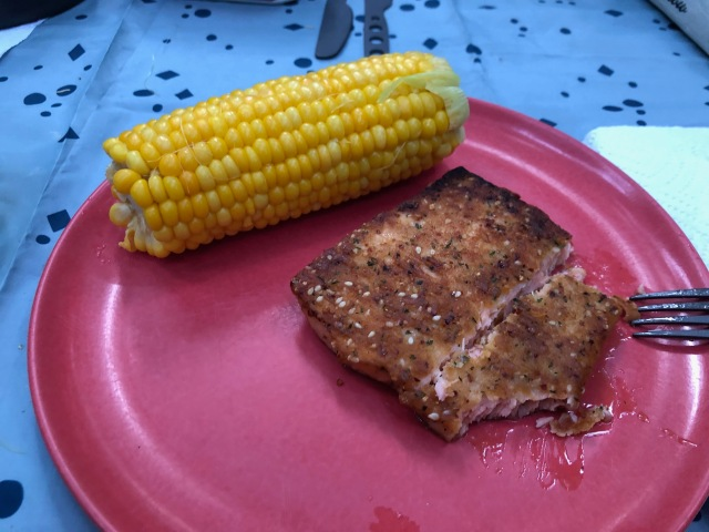 Salmon and Corn on the Cob