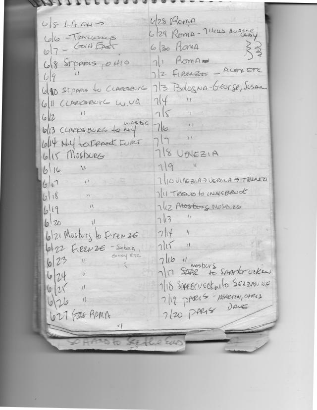 Europe 1977 Itinerary