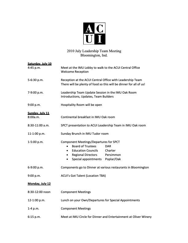 2010ACUI Summer Leadership Schedule